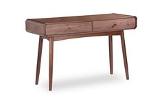 The Bowen console table emphasises rounded edges and curves to create a jovial, convivial ambience in the home. Inspired by mid-century design and modern retro designs, its play on beautiful curves and fluid forms highlights the furniture's focus on uncompromising comfort and pleasure, using premium solid American black walnut at affordable prices.