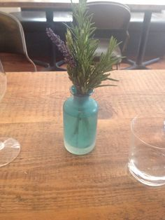 Blue glass vase at the Clove Club