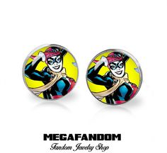 Harley Quinn Stud Earrings Comic Con Supervillain  Comics Jewelry