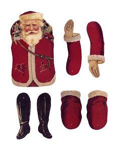 Vintage Santa Jointed Paper Doll And Other Santa Printables Noel Christmas, Victorian Christmas, Christmas Paper, Vintage Christmas, Xmas, Father Christmas, Christmas Mantles, Christmas Christmas, Christmas Ornaments