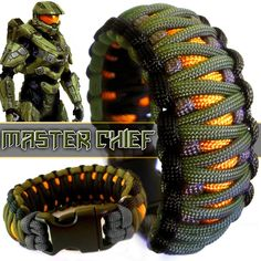 Master Chief // Halo inspired custom 550 paracord braceket, available at… Paracord Knots, 550 Paracord, Paracord Bracelets, Survival Bracelets, Knot Bracelets, Bangles, Halo Master Chief, Casio Protrek, Paracord Projects