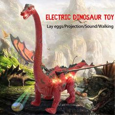 Laying Egg Projection Electric Dinosaur Walking Long-necked Animal Model Toy US
