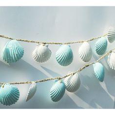 Seashell Garland Beach Wedding Decoration, Blue and White Sea Shell Garland, Shabby Chic Coastal Cottage  on Polyvore