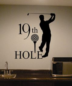 """For the """"man cave""""!! Vinyl Wall Lettering Golf Theme 19th Hole Sports Large Home Wet Bar Decal"""