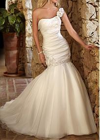 Modern Organza Satin & Satin Mermaid One Shoulder Neckline Drop Waist Beaded Appliques Wedding Gown With Handmade Flowers #Dressilyme