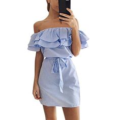 e3aeed9dcffef0 4 colour 2017 Summer Fashion Women  New Striped Dresses Sexy Ruffle Dress  Casual Style Comfortable Pretty Canonicals with belt Price  USD