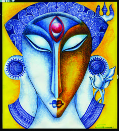 ABSTRACT SHIVA: CREATE A BALANCE OF EMOTION WITH COOL AND WARM COLOR, BLUE IS COOL WHICH DEPICT PEACE AND MEDITATION, AND FAMILY OF YELLOW COLOR LIKE ORANGE, CHROME YELLO, BROWN WHICH DEPICT ANGER