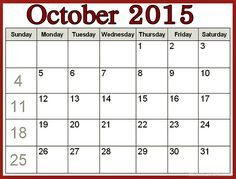 Halloween October Calendar 2015