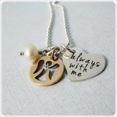 Angel Hand Stamped Jewelry - My Guardian Angel Necklace - Mixed Metal Charms. $48.00, via Etsy.