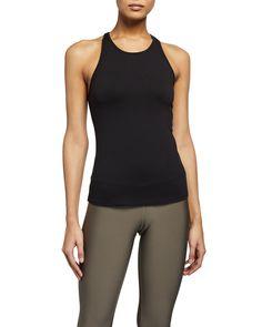 ALO YOGA SELECT RACERBACK TANK. #aloyoga #cloth Yoga Fashion, Yoga Tops, World Of Fashion, Racerback Tank, Pullover, Clothes For Women, Model, How To Wear, Black