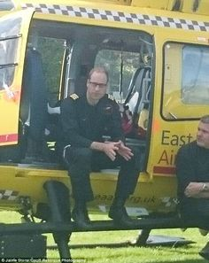 Job done: The photos, taken on Sunday, show the prince at the end of an emergency call out...