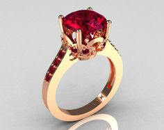 Classic 14K Rose Gold 3.0 Carat Burgundy Garnet Diamond