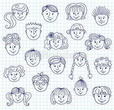 Ñhildren doodle faces Royalty Free Stock Vector Art Illustration