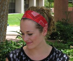 Wide Red Bandana Summer Beach Headband  by DesignsByMistyT on Etsy, $11.95