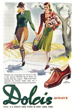What lovely artwork in this charming 1940s Dolcis shoe ad. #vintage #shoes #1940s #ad #fashion #spring