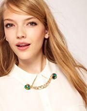 Cut Stone Linked Collar Tips at ASOS $10.22