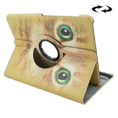 For+Tab+S2+9.7/T815+Yellow+Cat+Pattern+Leather+Case+with+Rotating+Holder