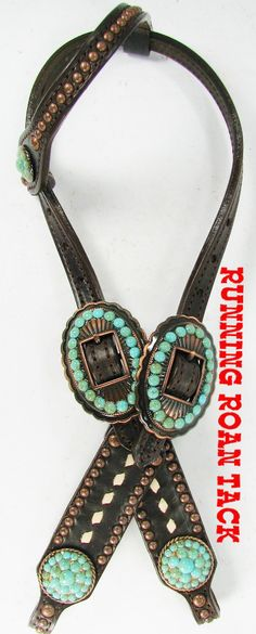 Chocolate SHORT GAG Headstall with White Buckstitch and Veined Turquoise Stones by Running Roan Tack