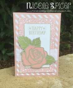Global Design Project #GDP031, Nicole Spicer, Stampin' Up! Rose Wonder Photopolymer Bundle, Happy Birthday, Blushing Bride, Pear Pizzazz