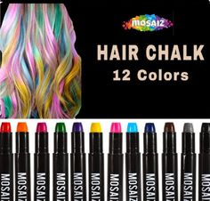 Hair Chalk for Girls & Boys 12 Colors (with Black & Brown) Washable Temporary Hair Color for Kids Hair Dye Marker Pen Dark or Blonde Teen Girls Birthday Gift Painting Wig Face Paint Party Spa Crayon Hair Color Brush, Kids Hair Color, Boys Colored Hair, Face Paint Party, Face Paint Set, Body Paint, Bright Hair Colors, Hair Dye Colors, Colorful Hair