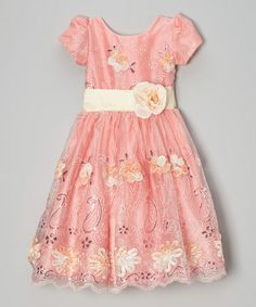 This Peach Sequin Floral A-Line Dress - Infant, Toddler & Girls is perfect! #zulilyfinds