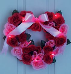 Light Up Rose Wreath - Great variety of Valentines Day gifts ranging all under $30 from www.SellingBeautyIsEasy.com #valentinesdaygifts #valentinesday #wreath #lightup #rose $19.99