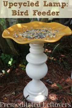 DIY Sunflower Bird Feeder from an Upcycled Lamp. How to make a bird feeder from an old lamp and a plate. Easy tutorial. Easy Tutorial with pictures.