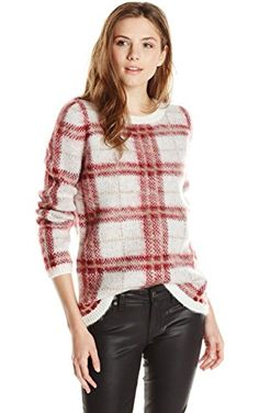 Olive & Oak Women's Plaid Printed Pullover Crew Neck Sweater, Cranberry Crush, Medium ❤ Olive & Oak Womens Contemporary