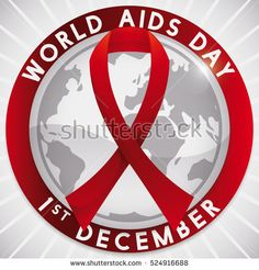 Poster with commemorative red ribbon symbol over a silver globe in rounded button for World AIDS Day.