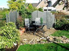 Garten ▫ Terrasse ▫ Außengestaltung ▫ Dekoideen ▫ Sichtschutz ▫ Schiefer ▫  Schieferbretter