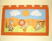 Baby Quilt, Art Wall  Hanging, Animals Quilt, Safari Childrens Personalized beautiful gifts - Esty - she is wonderful!!! Customquiltsbyeva