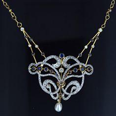 art nouveau style sapphire, diamond and pearl necklace