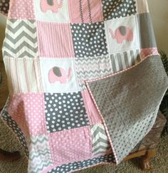 ELEPHANT quilt in PINK white & gray with Minky by Lovesewnseams