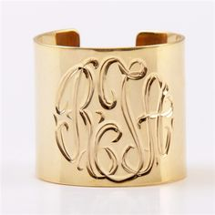 Monogram Gold Plate Cuff from Monogram Lane
