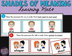 Shades of Meaning Sorting Mats 2nd Grade Ela, Second Grade, Shades Of Meaning, Word Study, Second Language, Common Core Standards, Literacy Centers, Guided Reading, Student Work