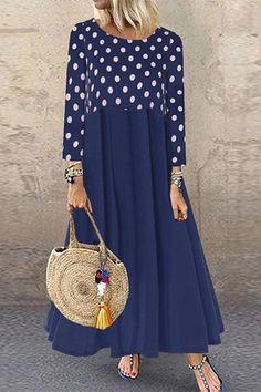 General Tunic Red Blue Black Day Dresses Polyester Casual Round Neckline Shift Dress Long Sleeve XS Midi Fall S Winter M Polka Dot L Dress Day Dresses, Dresses Online, Casual Dresses, Fashion Dresses, Fashion Pants, Boho Fashion, Polka Dot Maxi Dresses, Vintage Style Dresses, Maxi Dress With Sleeves