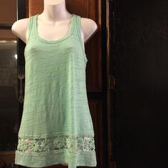 Mint Green Crochet Hem Tank Juniors size tank 62% cotton , 38% polyester . Has a crochet hem at bottom . 27 inches length . No Boundaries Tops Tank Tops