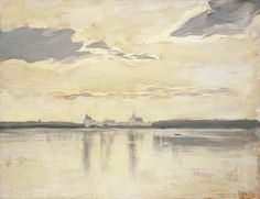 Isaak Levitan (1860-1900), Landscape at Dawn, oil on canvas, 56.6x73cm