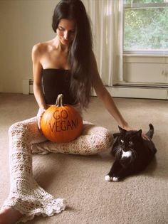 Here comes #fall (& cute photos from friends like this one from gorgeous #activist/#fashion designer Melissa Slack from She Lives On Love Street (etsy) who has a #fall #halloween message for us. {want to see more of her custom made #organic pieces featuring vintage #lace and backless sexiness? Pop her name in the search engine over at girliegirlarmy.com}#vegpledge #govegan #vegan #veganfashion #blackcat #pumpkin #halloween #shelivesonlovestreet #melissaslack