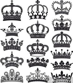 crown and coronet silhouettes Pixerstick Sticker - Art and Creation Princess Crown Tattoos, Queen Crown Tattoo, Princess Crowns, Dope Tattoos, Body Art Tattoos, Tattoo Drawings, Tatoos, Compass Tattoo, Coroa Tattoo