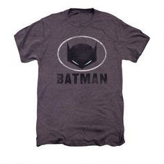 Batman Cowl Mask In Oval Adult Premium Moth Heather T-shirt |