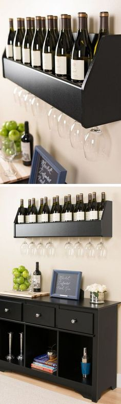 Prepac Floating Wine Rack // but probably good work with other liquor bottles too