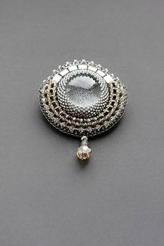Bead embroidered brooch, Beadwork, Beaded embroidery jewellery, Seed bead embroidery brooch. Ready to ship!