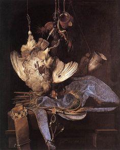 Stilleven met jachttrofeeën ~ 1668 ~ Olieverf op doek ~ 68 x 54 cm. ~ Staatliche Kunsthalle, Karlsruhe