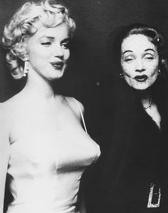 Marilyn Monroe & Marlene Dietrich  at a press conference announcing the formation of Monroe Productions,1955.  #photo by Milton Greene