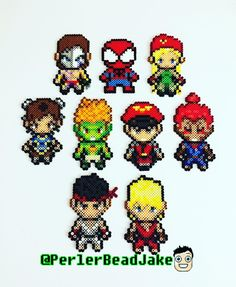 Made these goodies for Street Fighter / Spider-Man Perler Patterns, Bead Patterns, Cross Stitch Patterns, Hama Beads, Pixel Art, Marvel Cross Stitch, Spiderman Spiderman, Cammy Street Fighter, Chun Li