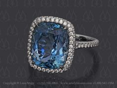 Blue aquamarine ring custom made by Leon Mege