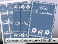 DIY Printable gift tag -  Geschenk-Anhänger Norweger blau digitale Vorlage zum Download