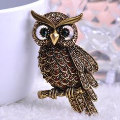 Big Owl Brooch Pin