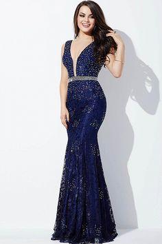 Powder Blue Lace Prom Dress 22917